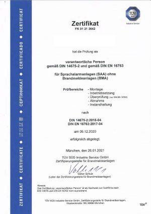 S+P Ingenieure AG, TGA, Heilbronn, SAA, Sprachalarmanlagen, Zertifikat, TÜV SÜD