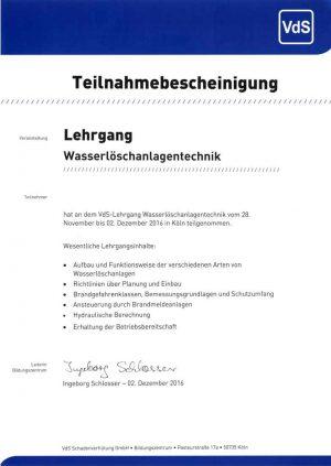 S+P Ingenieure AG Heilbronn TGA Teilnahmebescheinigung Wasserlöschanlagen Sedlacek Ingenieure Heilbronn