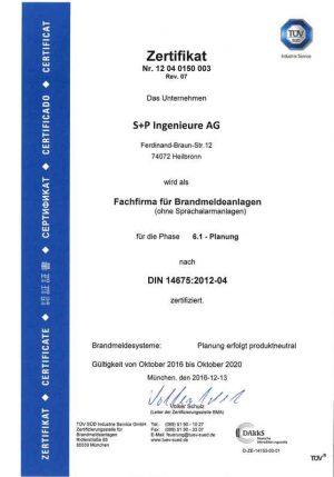 S+P Ingenieure AG Heilbronn TGA - Zertifikat nach DIN 14675 Brandmeldeanlagen_2016-11