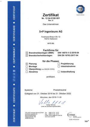 Zertifikat_DIN14657_2018-2022 S+P Ingenieure AG Heilbronn TGA