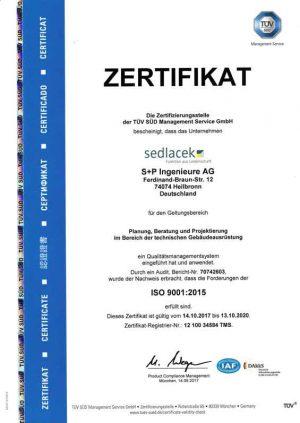 Zertifikat_ISO9001_2017-2020 S+P Ingenieure AG Heilbronn TGA