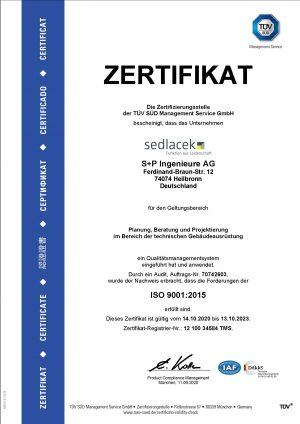 S+P Ingenieure AG - TGA - Zertifizierung- ISO 9001 2020-2023
