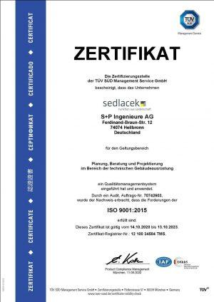 Zertifizierung_TUEV-Sued_ISO-9001_2020-09-11 -S+P Ingenieure AG - TGA - Zertifizierung- ISO 9001 2020-2023
